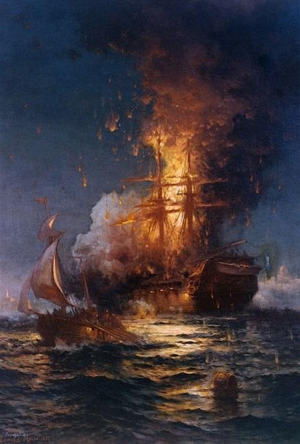 "Illustration: ""Burning of the Frigate Philadelphia in the Harbor of Tripoli"" by Edward Moran"