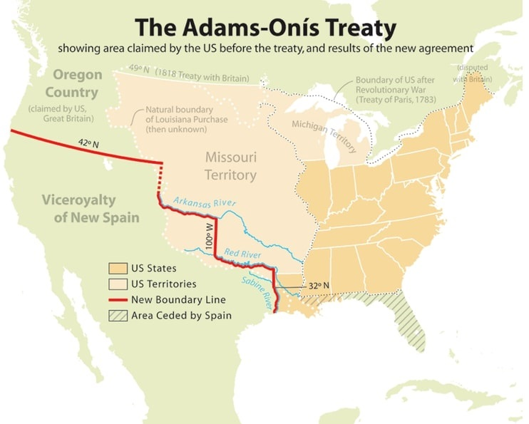 Map: the results of the Adams-Onís Treaty of 1819