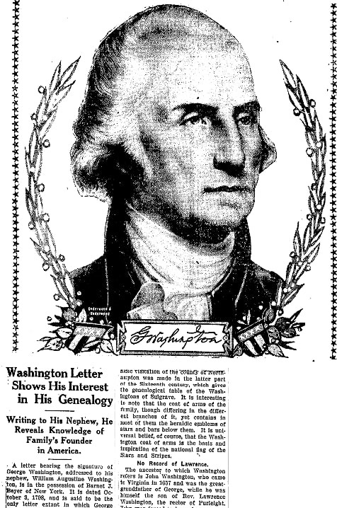 An article about George Washington, National Labor Tribune newspaper article 16 February 1928