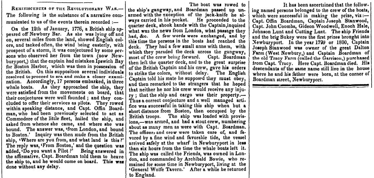 An article about Offin Boardman, Newburyport Morning Herald newspaper article 19 April 1848