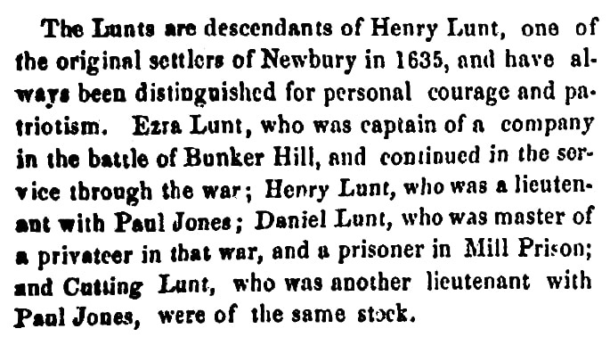 An article about the Lunt family, Newburyport Morning Herald newspaper article 1 June 1863