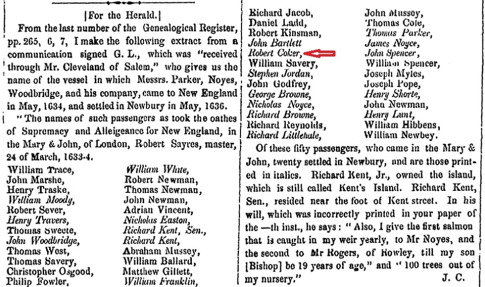 An article about early New England settlers, Newburyport Morning Herald newspaper article 27 July 1855