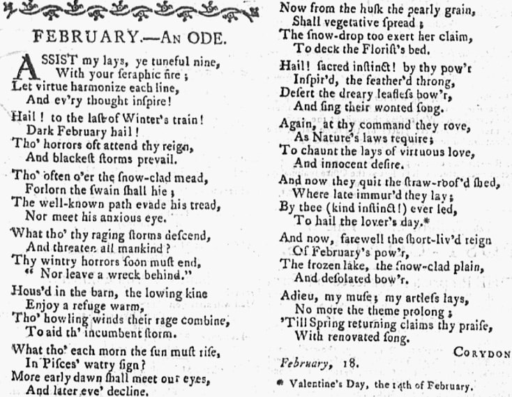 A Valentine's Day poem, Pennsylvania Mercury and Universal Advertiser newspaper article 28 February 1789
