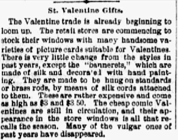An article about Valentine's Day, Philadelphia Inquirer newspaper article 9 February 1883