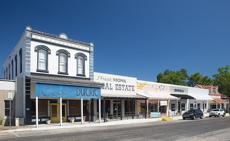 Photo: old buildings in downtown Bellville, Texas