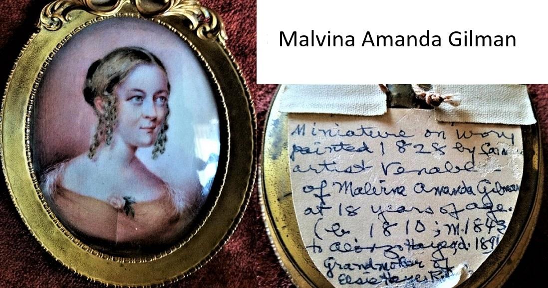 Photo: locket containing a miniature of Malvina Amanda Gilman