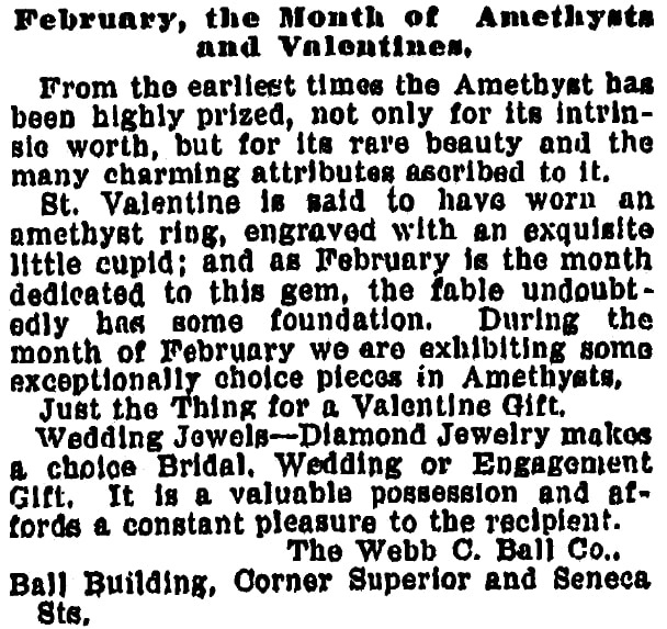 An ad for Valentine's Day, Plain Dealer newspaper advertisement 14 February 1898