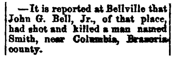 An article about John G. Bell Jr., Southern Banner newspaper article 1 May 1884