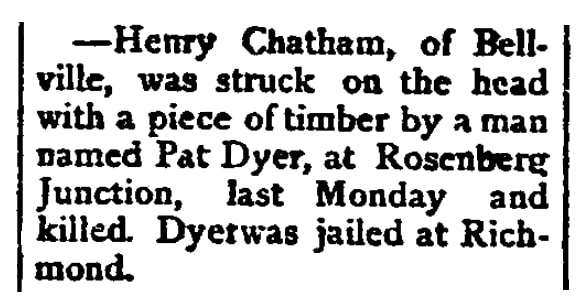 An article about Henry Chatham, Southern Banner newspaper article 20 October 1881