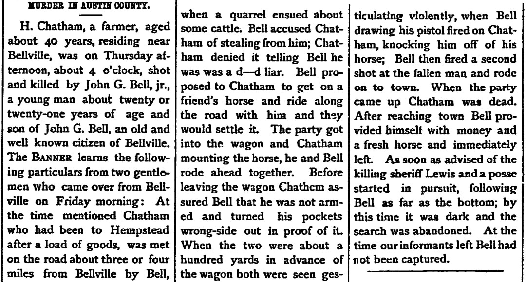 An article about Moses Chatham, Southern Banner newspaper article 28 November 1879