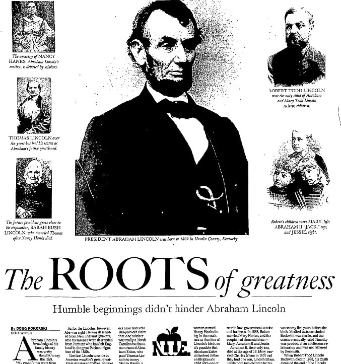 An article about Abraham Lincoln, State Journal-Register newspaper article 11 February 2004