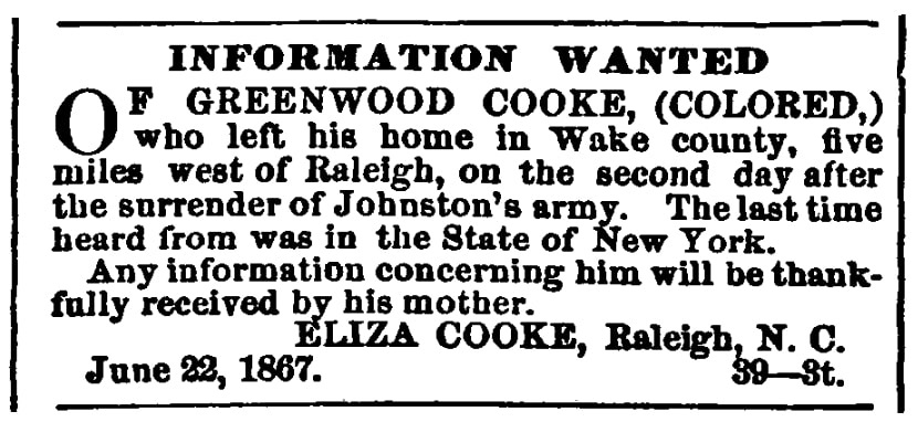 A missing person ad, Tri-Weekly Standard newspaper advertisement 22 June 1867