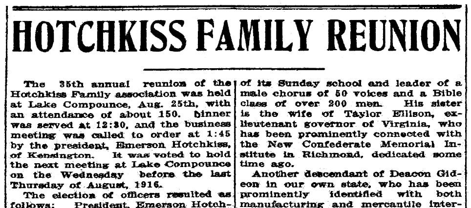 An article about a Hotchkiss family reunion, Bridgeport Evening Farmer newspaper article 15 September 1915