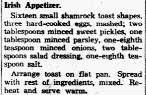 Appetizer recipe, Dallas Morning News (Dallas, Texas), 10 March 1939