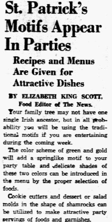 A St. Patrick's Day feast, Dallas Morning News (Dallas, Texas), 10 March 1939