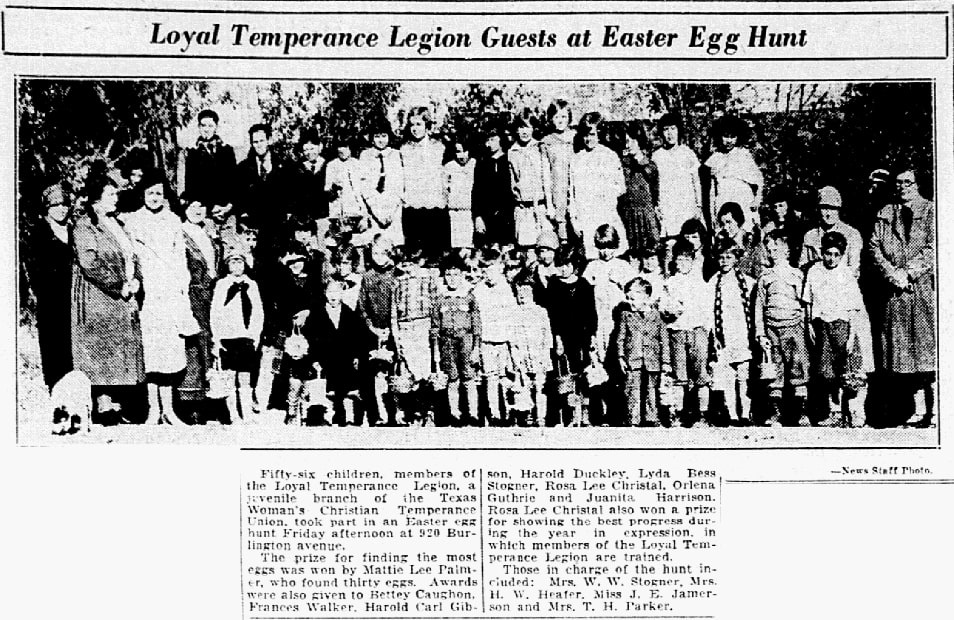 An article about an Easter egg hunt, Dallas Morning News newspaper article 7 April 1928