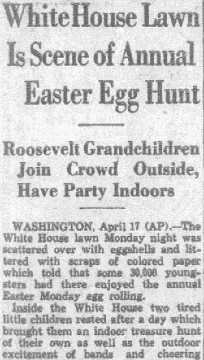 An article about an Easter egg hunt, Dallas Morning News newspaper article 18 April 1933