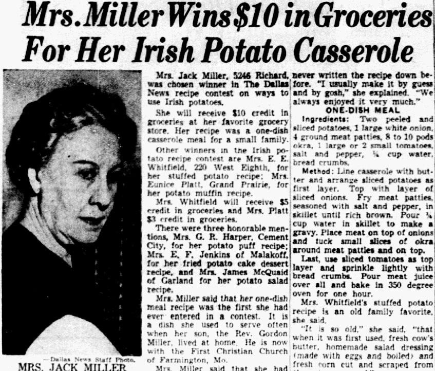 Potato casserole recipe, Dallas Morning News newspaper article 26 May 1950
