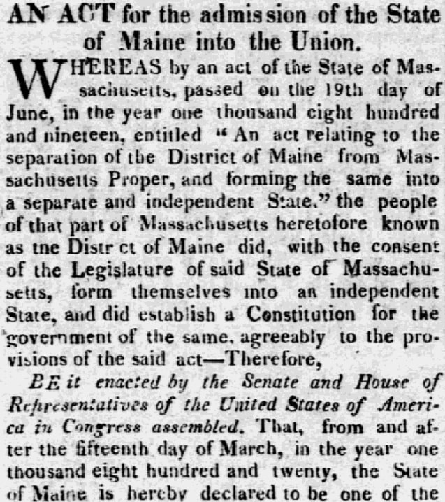 An article about the legislation to admit Maine into the Union, Hallowell Gazette newspaper article 15 March 1820