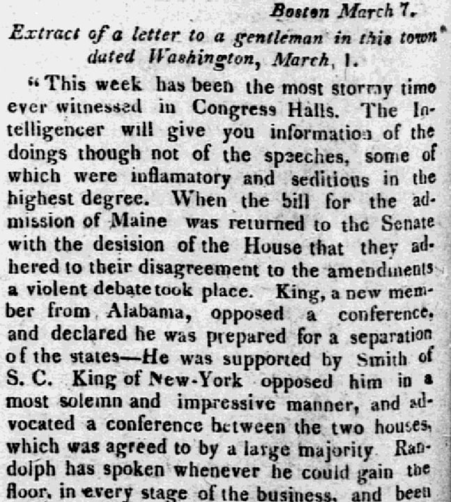 An article about Maine statehood, An article about Maine statehood, newspaper article 15 March 1820