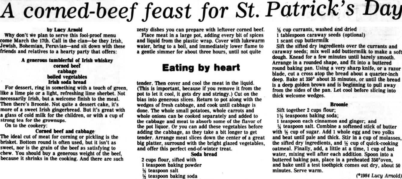 A St. Patrick's Day feast, Hyde Park Herald newspaper article 14 March 1984