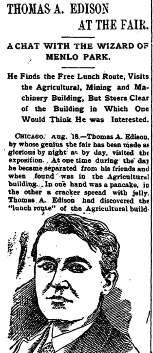 An article about the 1893 Chicago World's Fair, Morning Star newspaper article 18 August 1893