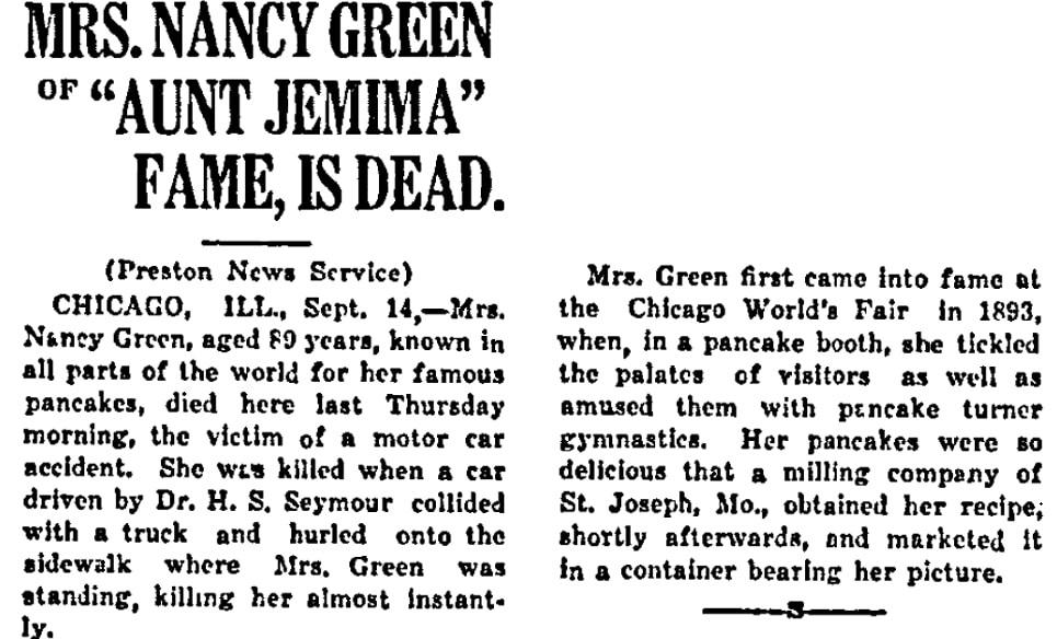 An article about Nancy Green, Negro Star newspaper article 14 September 1923
