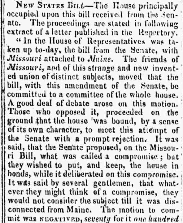 An article about Maine statehood, New Hampshire Sentinel newspaper article 4 March 1820