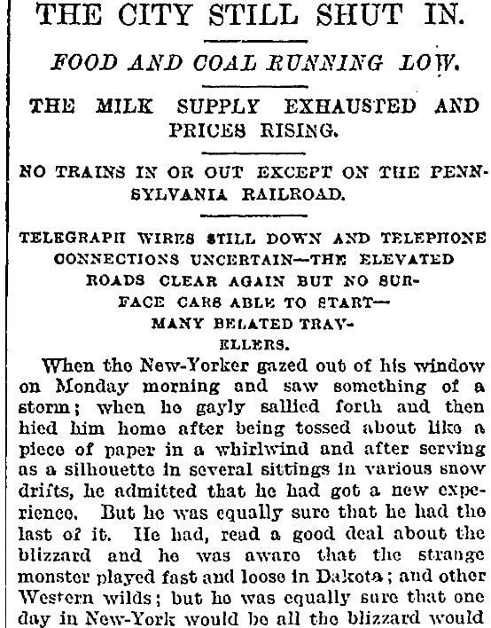 An article about the Great Blizzard of 1888, New York Tribune newspaper article 14 March 1888