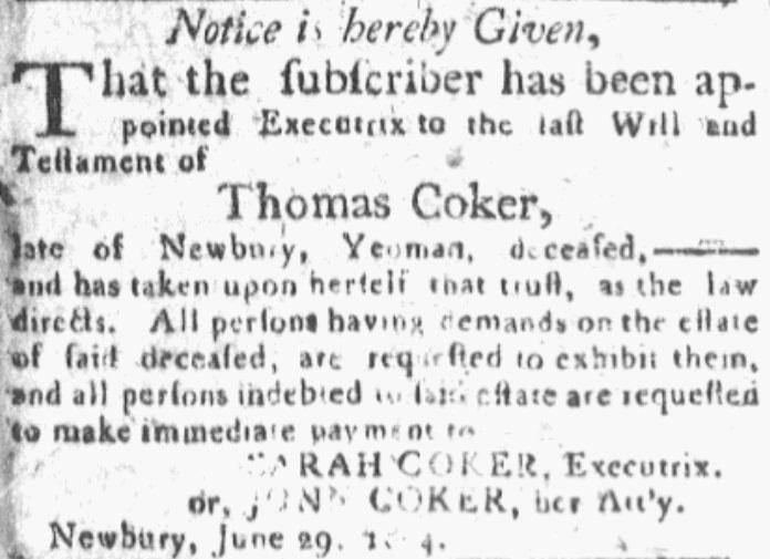 An article about Thomas Coker, Newburyport Herald newspaper article 3 July 1804