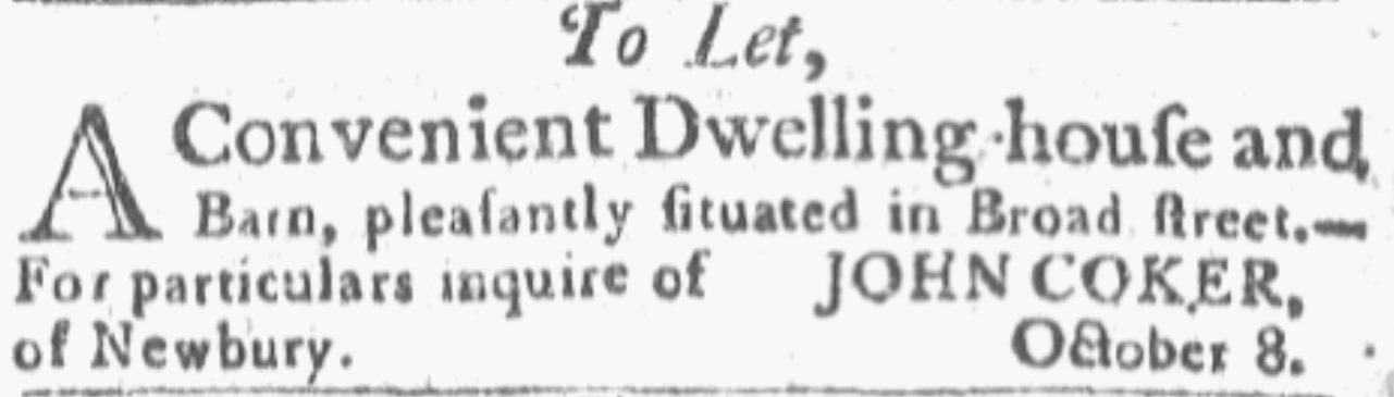 An article about John Coker, Newburyport Herald newspaper article 22 October 1805