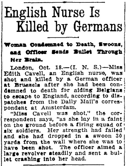 An article about Edith Cavell, Oregon Journal newspaper article 18 October 1915