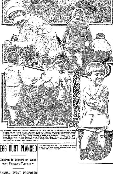 An article about an Easter egg hunt, Oregonian newspaper article 23 April 1916