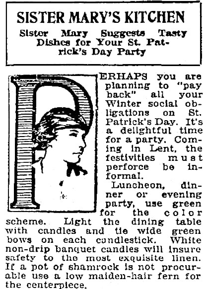 A St. Patrick's Day feast, Patriot newspaper article 10 March 1922