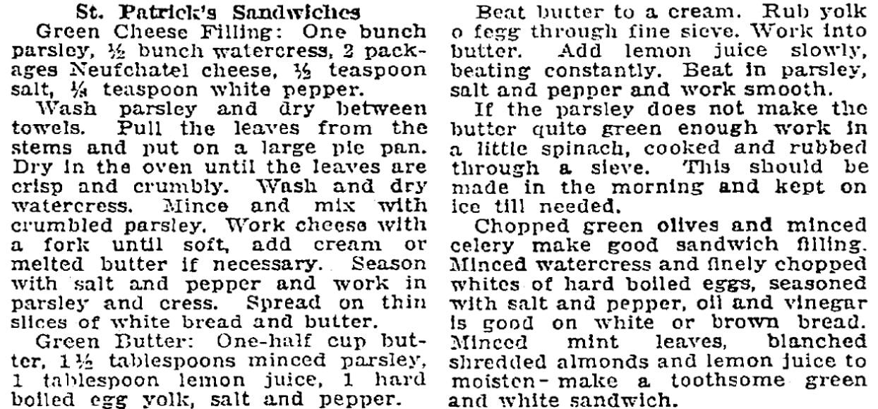 Sandwich recipes, Patriot newspaper article 10 March 1922