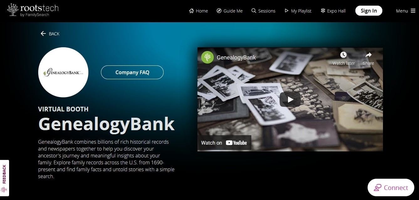 """A screenshot of GenealogyBank's """"Virtual Booth"""" page for RootsTech 2021"""