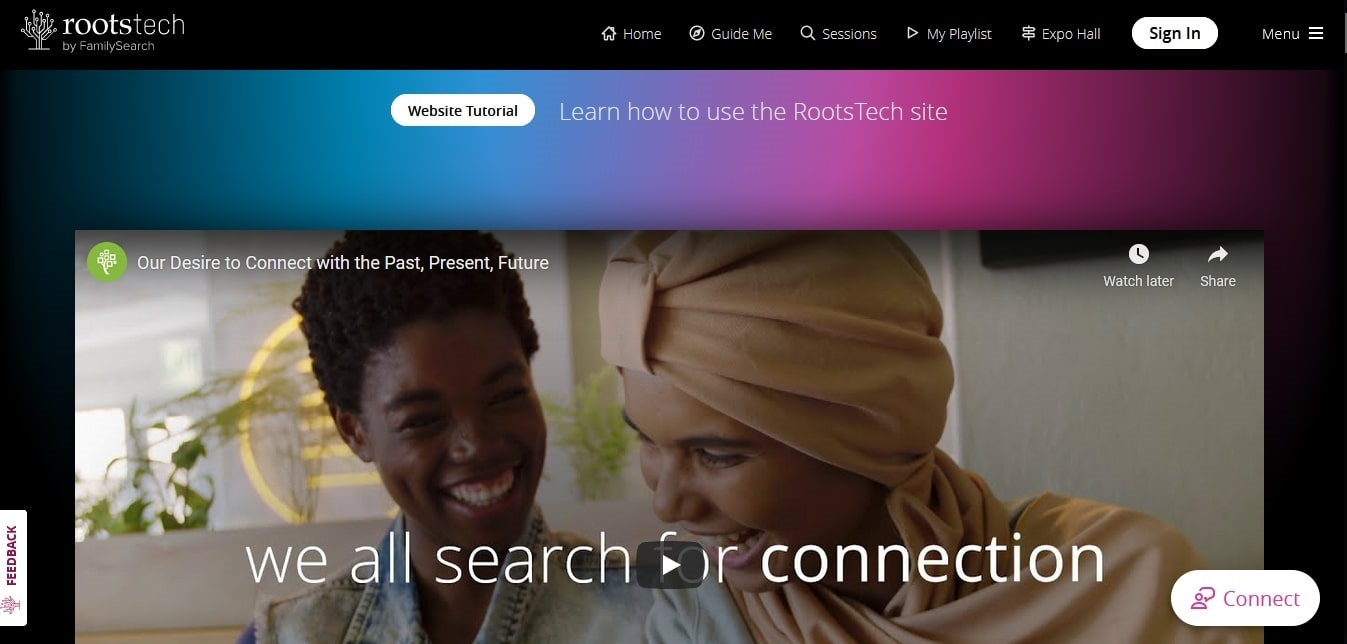 A screenshot of the RootsTech 2021 home page
