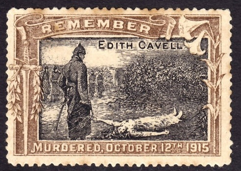 Photo: a propaganda stamp issued shortly after Edith Cavell's death