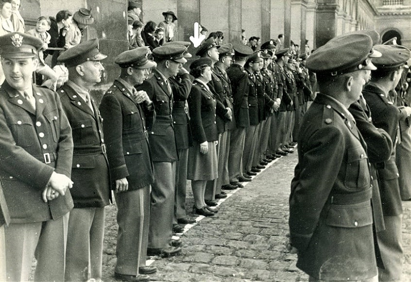 Photo: Camilla Mays Frank (arrow point) awarded the French Croix de Guerre, July 1945