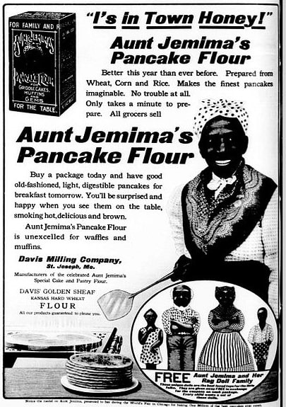 Photo: 1909 ad for pancake flour showing Nancy Green as Aunt Jemima