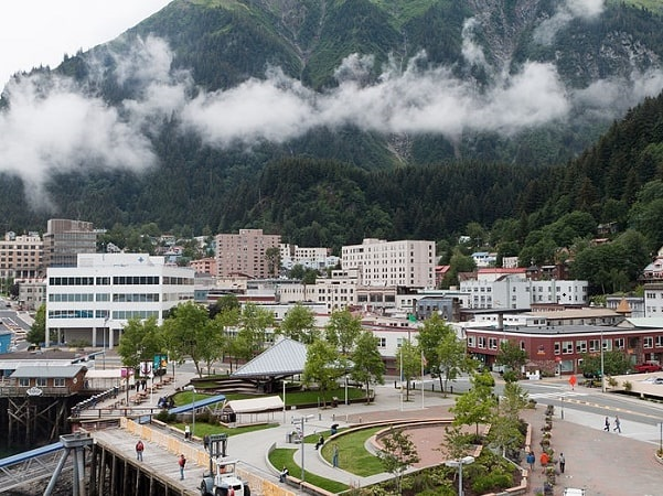 Photo: Juneau, Alaska's third-largest city and its capital, with Mount Juneau rising in the background. Credit: Alan Wu; Wikimedia Commons.