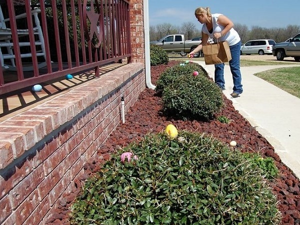 Photo: a woman hides Easter eggs for preschool-aged children to find. Credit: Justabaldguy; Wikimedia Commons.
