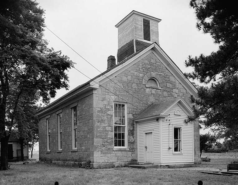 Photo: the Beecher Bible and Rifle Church in Wabaunsee, Kansas, the town founded by the Connecticut Kansas Colony