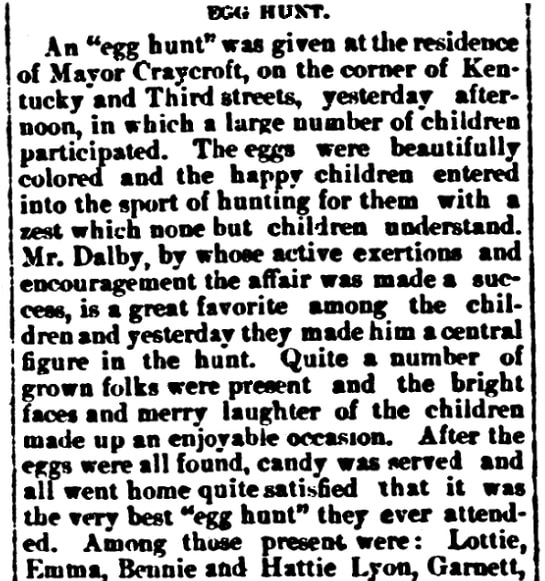 An article about an Easter egg hunt, Sedalia Weekly Bazoo newspaper article 11 April 1882