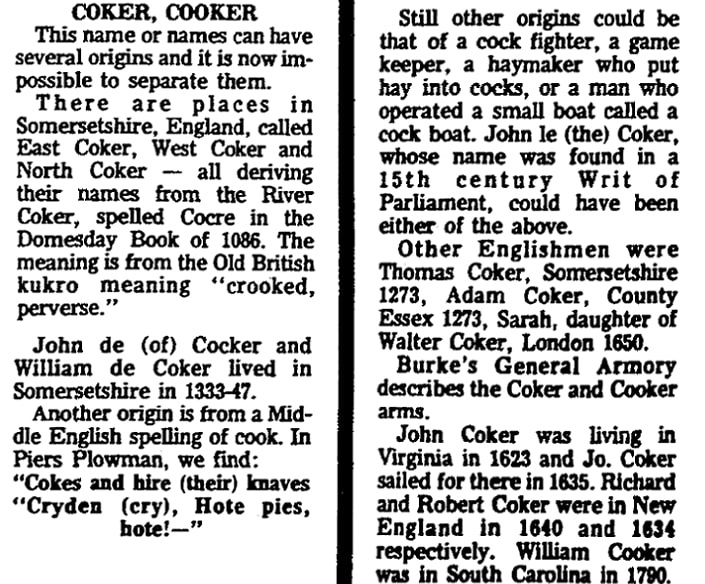 An article about the surname Coker, State Times Advocate newspaper article 31 March 1974