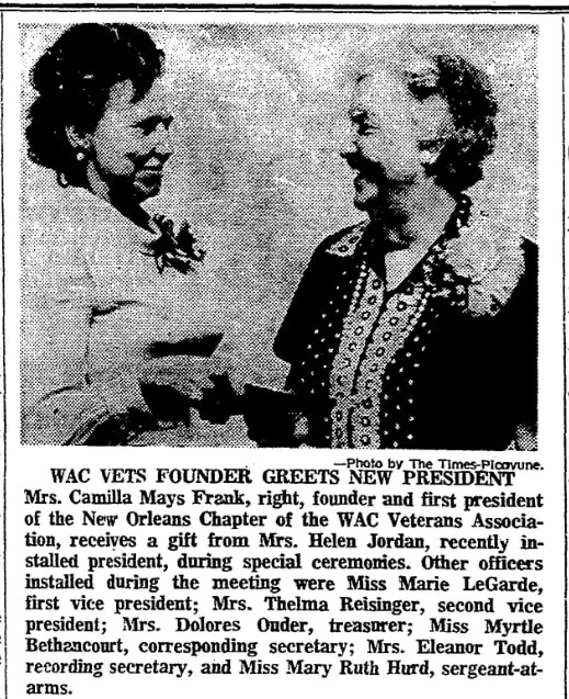 A photo of Camilla Frank, Times-Picayune newspaper article 24 September 1972