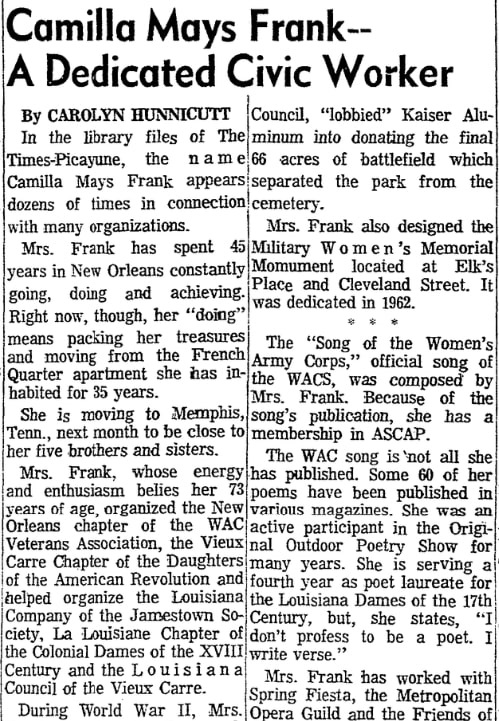 An article about Camilla Frank, Times-Picayune newspaper article 24 September 1972