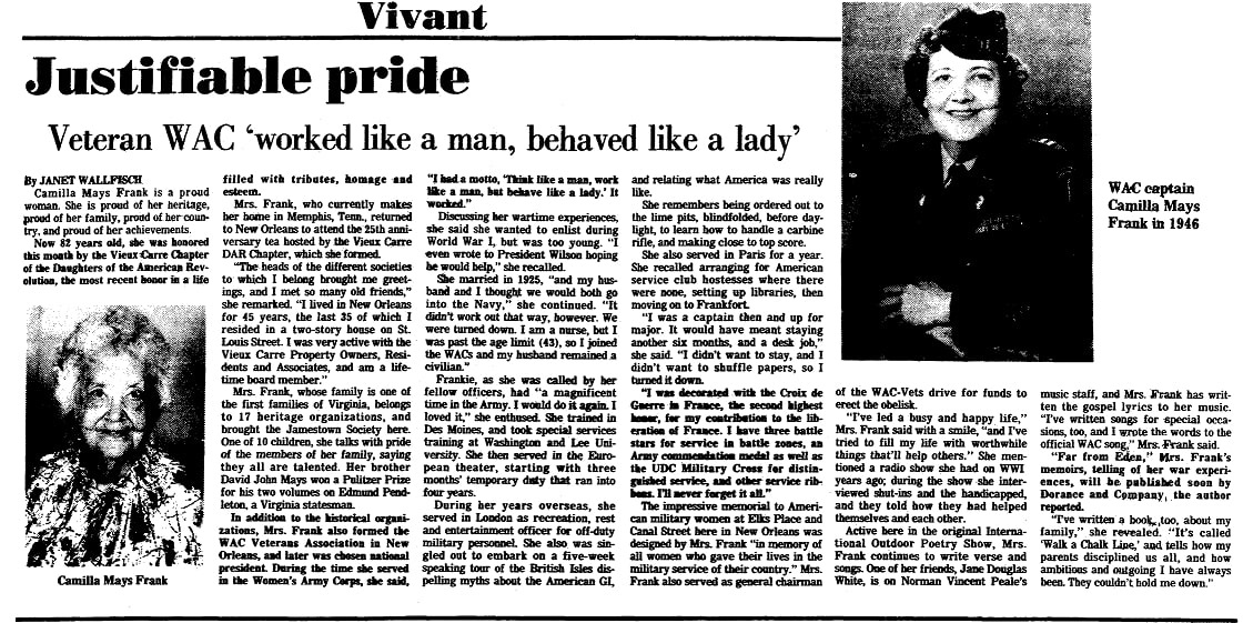 An article about Camilla Frank, Times-Picayune newspaper article 26 October 1981