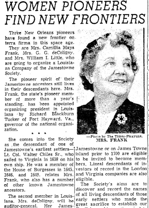An article about Camilla Frank, Times-Picayune newspaper article 23 November 1958