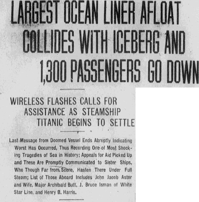 Headlines about the sinking of the Titanic, Albuquerque Journal newspaper article 15 April 1912
